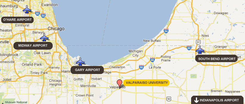 Several airports are within driving distance of Valparaiso University.