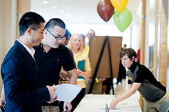 Photo of students checking in at the Career Fair