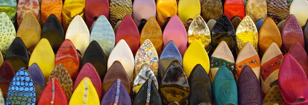 photo of colorful shoes in a Moroccan market