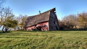 A sagging barn