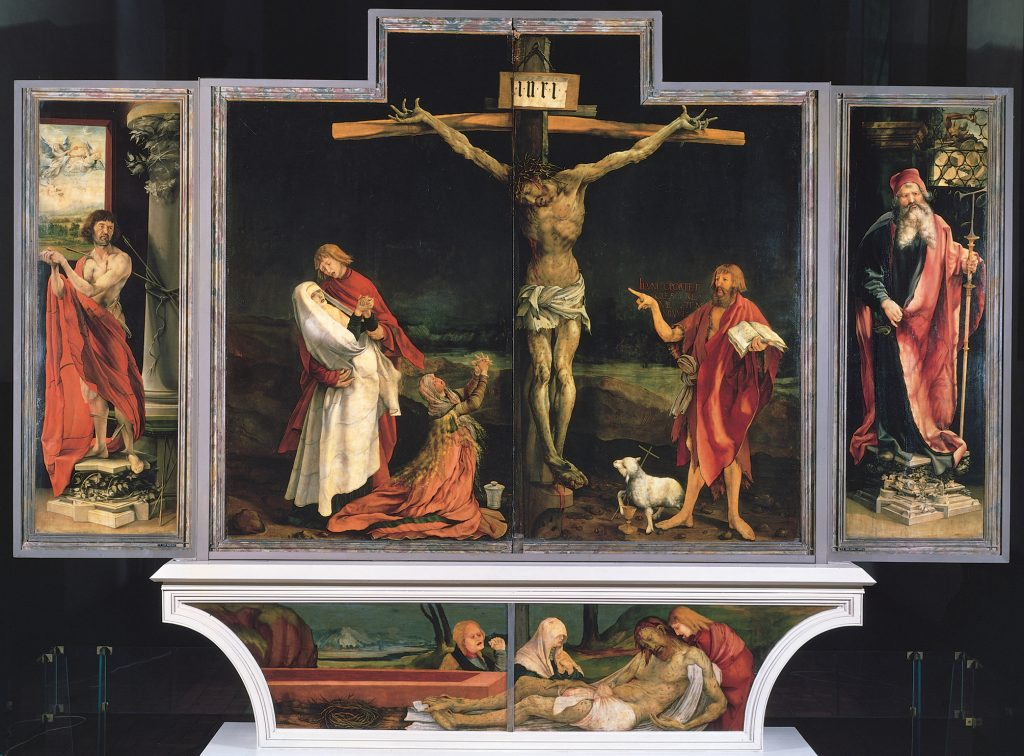 Jesus Christ is shown suffering on this Isenheim Altarpiece, Musée d'Unterlinden, Colmar