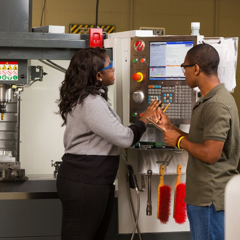 Mechanical engineering students learn in the field.