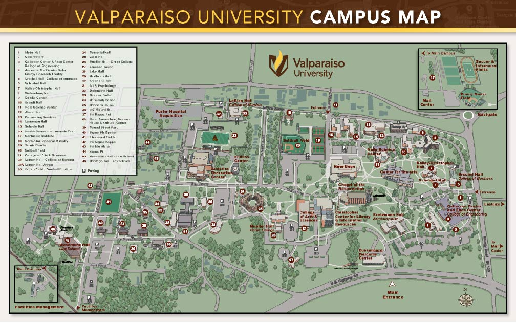 valparaiso university campus map Travel And Parking May Commencement valparaiso university campus map