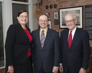 Dean Andrea D. Lyon with Hoeppner Wagner & Evans partners Todd A. Leeth ('88) and Larry G. Evans ('62)