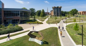 aerial photo of students walking on campus