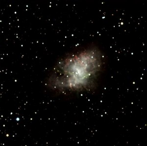 An image of the Crab Nebula supernova remnant, taken at an open house using the SARA telescope