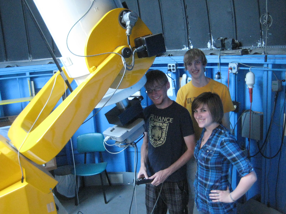 Valpo students demonstrate the use of the campus observatory