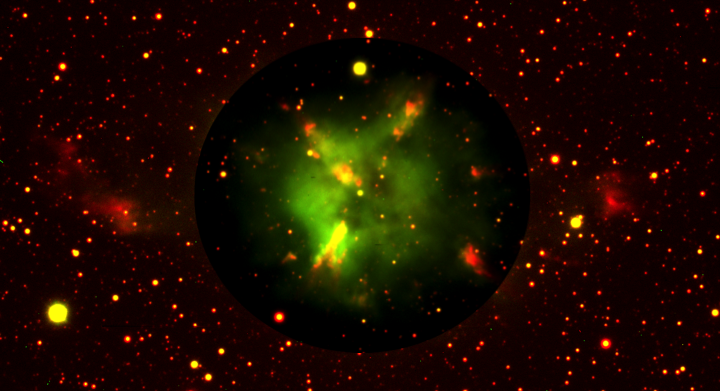 A false-color image of the Longmore 16 planetary nebula, demonstrating shaping effects, possibly due to the binary central star.