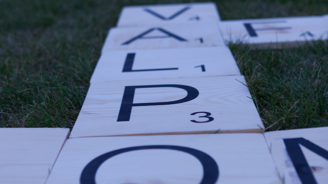 Scrabble letters spelling out VALPO