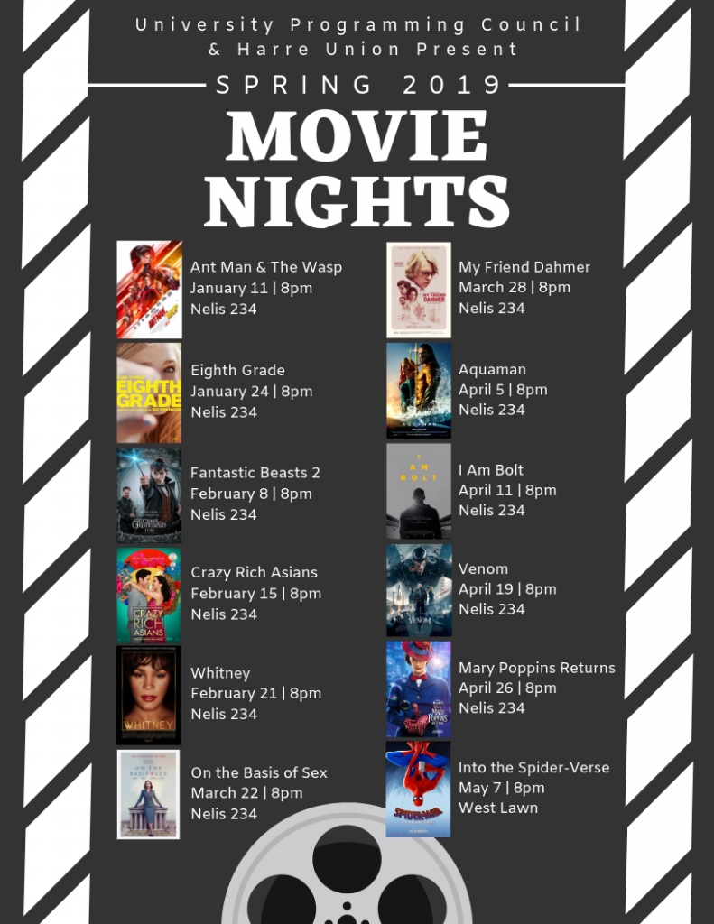 Movies Date Time Location Rainsite Movie Title Notes Friday, January 11, 2019 8:00 PM Neils 234 Ant Man & The Wasp Thursday, January 24, 2019 8:00 PM Neils 234 Eighth Grade Friday, February 8, 2019 8:00 PM Neils 234 Fantastic Beasts: The Crimes of Grindelwald Friday, February 15, 2019 8:00 PM Neils 234 Crazy Rich Asians Thursday, February 21, 2019 8:00 PM Neils 234 Whitney Friday, March 22, 2019 8:00 PM Neils 234 On the Basis of Sex Thursday, March 28, 2019 8:00 PM Neils 234 My Friend Dahmer Friday, April 5, 2019 8:00 PM Neils 234 Aquaman Thursday, April 11, 2019 8:00 PM Neils 234 I Am Bolt Friday, April 19, 2019 8:00 PM Neils 234 Venom Friday, April 26, 2019 8:00 PM Neils 234 Mary Poppins Returns Tuesday, May 7, 2019 8:00 PM West Lawn Neils 234 Spiderman: Into the Spider-Verse