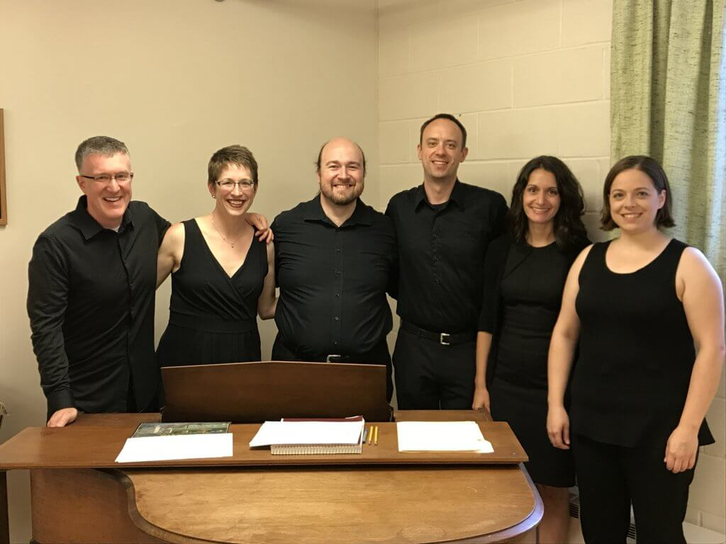 Valpo alumni took part in a chorale service of holy communion on July 23, 2017, as part of the Elm Ensemble. Pictured from left to right: Josh Messner '02, Sally Jacob '02 Messner, Paul Friesen-Carper '04, Luke Tegtmeier '05, Sophie Hunt '05, Laura Potratz '05.