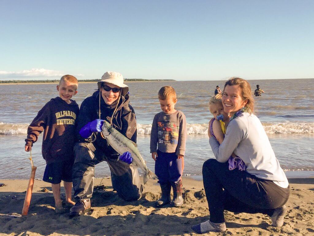 Karen Wallace '04 Ottenweller and Mike Ottenweller '04 are raising their three boys in Anchorage, Alaska. Recently, a Valpo sweatshirt came in handy to provide warmth for their oldest on the beach while they dipnetted for salmon at the Kenai River.