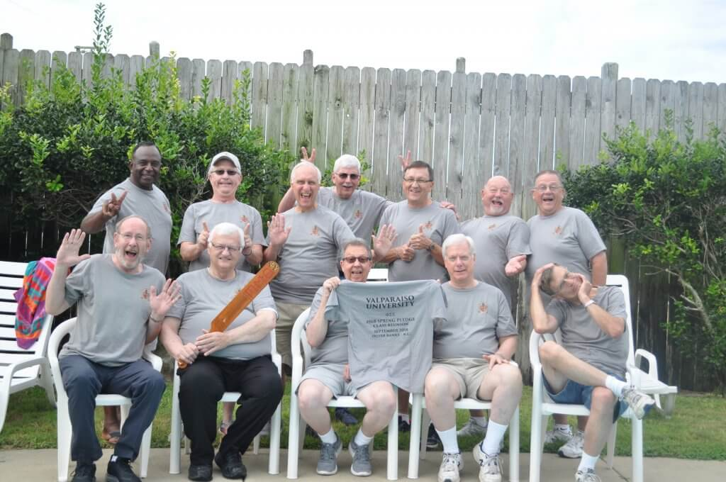 Phi Sigma Epsilon, now Phi Sigma Kappa, held a 50-year reunion for 12 members of the spring 1968 pledge class. Pictured from left to right: Front row, from left: Dave Geisler '74, Harvey Miller '71, Gale Garriott '73, John Hennecke '71, Don Nord '72. Back row, from left: Harold Mobley '71, Roger Dallman '71, Jonathan Miller '71, Rick Roellig '71, Phil Esala '71, Myron Schmidt '71, Jack Esala '74.