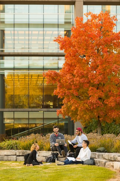Students outside on campus during Fall