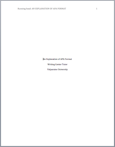 cover page for apa format