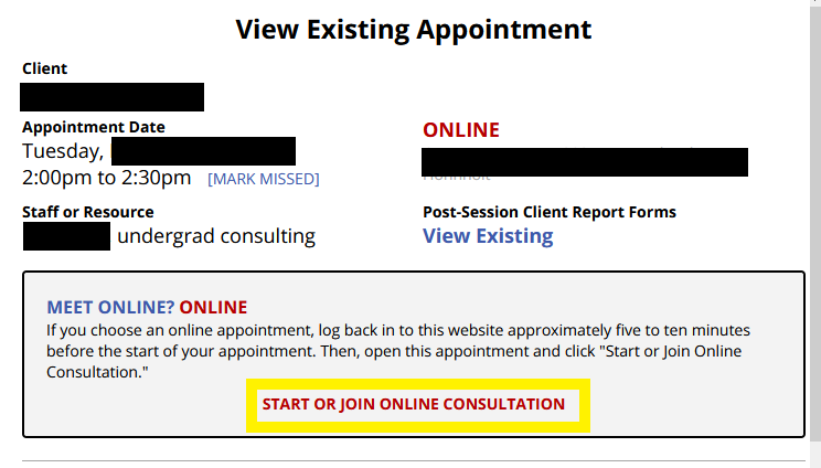 "Existing appointment form highlighting the ""start or join online consultation"" button"