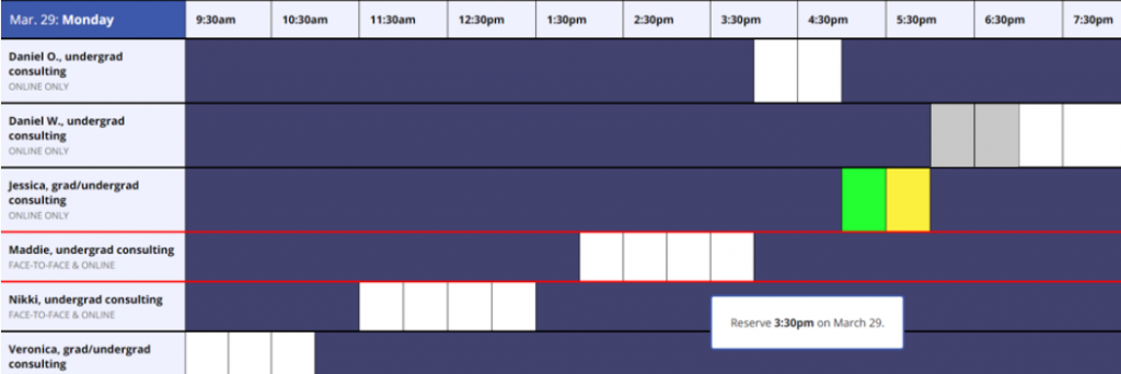 The MyWCOnline schedule. White blocks indicate available sessions, gray and yellow blocks indicate booked sessions, and green blocks indicate your booked appointments.